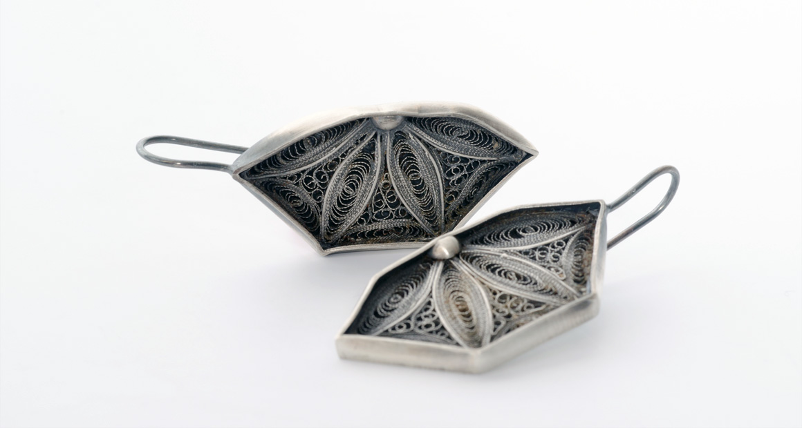 oxidized silver earrings with recycle filigree