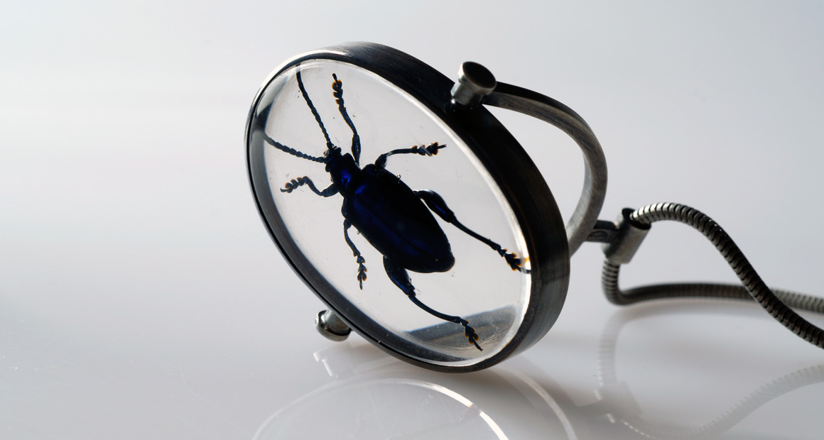 Beetle resin necklace
